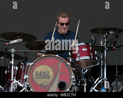 Portsmouth, Hampshire, UK. August 23rd 2019. Drummer Andy Williams with The Doves performing live on stage at Victorious Festival, Portsmouth, Hampshire UK Credit: Dawn Fletcher-Park/Alamy Live News - Stock Photo