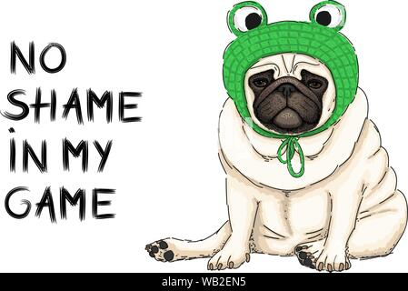 hand drawn vector illustration of cute cool pug puppy dog, sitting down with green crochet frog bonnet and text no shame in my game - Stock Photo