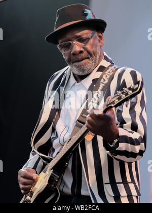 Portsmouth, Hampshire, UK. August 23rd 2019. Guitarist Lynval Golding with the Specials performing live on stage at Victorious Festival, Southsea, Portsmouth, Hampshire UK Credit: Dawn Fletcher-Park/Alamy Live News - Stock Photo