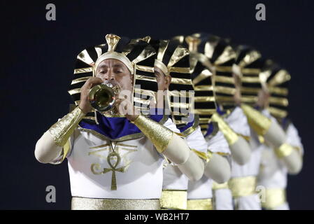 Moscow, Russia. 23rd Aug, 2019. MOSCOW, RUSSIA - AUGUST 23, 2019: Members of the Egyptian Military Symphonic Band perform during the opening ceremony of the 12th Spasskaya Tower International Military Music Festival in Red Square. Artyom Geodakyan/TASS Credit: ITAR-TASS News Agency/Alamy Live News - Stock Photo