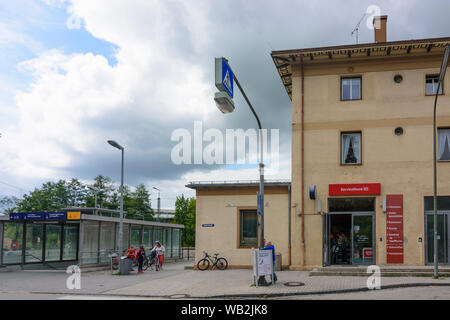 Markt Schwaben: Markt Schwaben railway station in Oberbayern, Ebersberg, Upper Bavaria, Bayern, Bavaria, Germany - Stock Photo