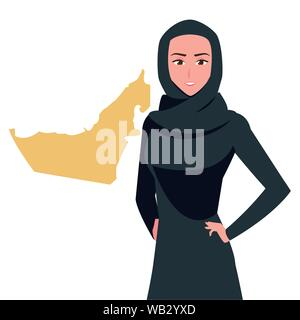 united arab emirates national day - arab woman with map vector illustration - Stock Photo