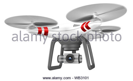 Professional drone 3d model in motion, isolated on a white background illustration - Stock Photo