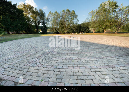 A Chartres Replica (medieval) style stone labyrinth located at the Keane Spirituality Center at the Sisters of Divine Providence in Pittsburgh, PA