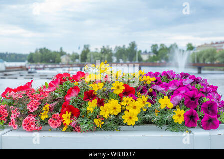 Colorful flowers on the bridge of Savonlinna in Finland with water jet in the background - Stock Photo