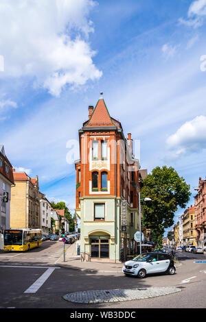 Stuttgart, Germany, August 16, 2019, Fantastic old facades of historical houses alongside streets seen from marienplatz square in inner city of stuttg - Stock Photo