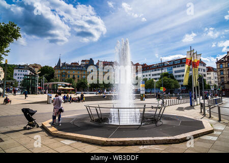 Stuttgart, Germany, August 16, 2019, Squirting waterspout fountain at marienplatz square in inner city of stuttgart, a popular meeting place for peopl - Stock Photo