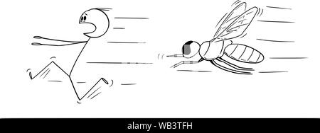 Vector cartoon stick figure drawing conceptual illustration of man running away in fear from mosquito or insect. - Stock Photo