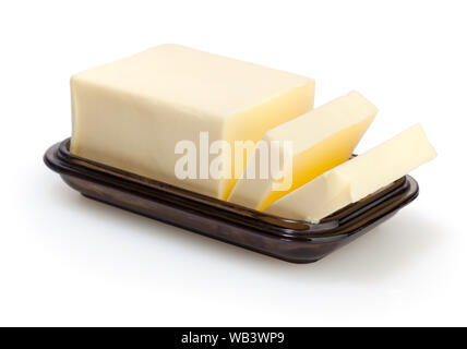 Butter in butterdish isolated on white background with clipping path - Stock Photo