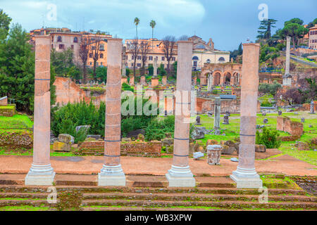 Forum Romanum ,located in valley between the Palatine and Capitoline Hills in Rome ,Italy - Stock Photo
