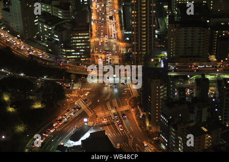 Street views from Tokyo Tower by night, in Japan - Stock Photo