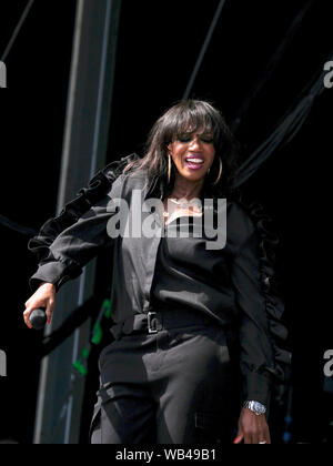 Portsmouth, Hampshire, UK. August 24th 2019. Shaznay Lewis with British all female band All Saints performing live on stage at Victorious Festival, Southsea, Portsmouth, Hampshire, UK Credit: Dawn Fletcher-Park/Alamy Live News - Stock Photo