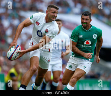 London, UK. 24th Aug, 2019. LONDON, ENGLAND. AUGUST 24: Jonny May of England during Quilter International between England and Ireland at the Twickenham stadium on August 24, 2019 in London, England. Credit: Action Foto Sport/Alamy Live News - Stock Photo