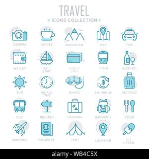 Collection of travel thin line icons - Stock Photo