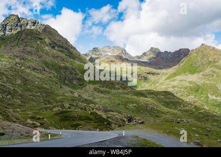 The Kaunertal Valley Glacier Road (Austrian Alps) near the peak of the Kaunertal glacier - Stock Photo