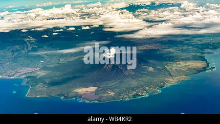 Volcano views from airplane, in Bali Indonesia