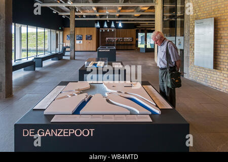Scale model of sluice complex Ganzepoot at Westfront Nieuwpoort / Nieuport, museum about the flooding of the Yser plain in WWI, Flanders, Belgium - Stock Photo