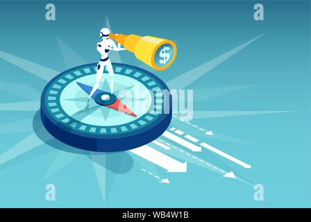 Business direction and technological innovation concept. Vector of a robot standing on compass searching for financial opportunities. - Stock Photo