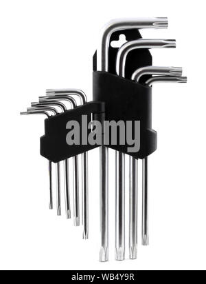 Hex Wrench key set in black socket isolated on white background. It's a screwing tool known as imbus. - Stock Photo