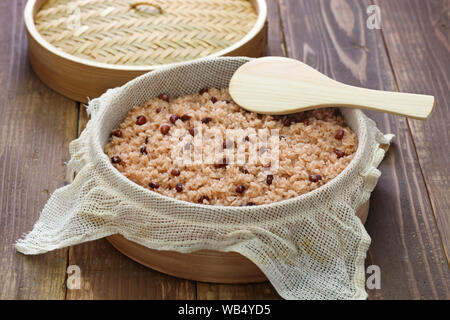 Sekihan, steamed sticky rice with red beans, Japanese food - Stock Photo