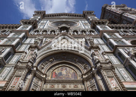 Italy. Florence cathedral. The façade and Giotto's bell tower detail. - Stock Photo