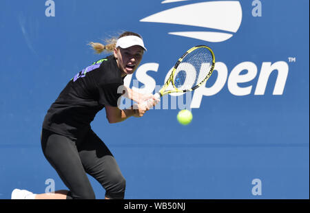 New York, USA. 24th Aug, 2019. Flushing Meadows New York US Open Tennis Caroline Wozniacki (DEN) practices on Louis Armstong Court Credit: Roger Parker/Alamy Live News