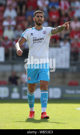 London, UK. 24th Aug, 2019. Crawley Town's Tom Dallison during the Sky Bet League One match between Leyton Orient and Crawley Town at Brisbane Road in London. Credit: Telephoto Images/Alamy Live News - Stock Photo