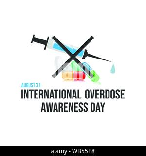 Drug awareness and prevention day. Drug overdose awareness day vector design image illustration - Stock Photo
