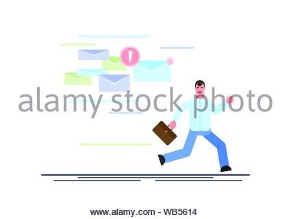 Frightened businessman is running away from a plenty emails chasing him. Effective management. Vector illustration - Vector illustration - Stock Photo