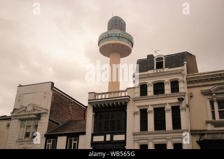 Radio City Tower or St John's Beacon, built in 1969, and house facades in  Liverpool, Lime Street.  England, Europe. - Stock Photo