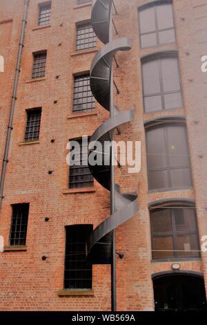 Facade of a historic brickstone warehouse, part of the Royal Albert Dock in Liverpool, England, Europe. - Stock Photo