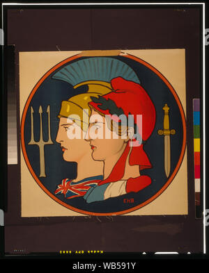 Emblem of France and Great Britain Abstract: Poster showing personifications of France and Great Britain, depicted in profile within a circular border. - Stock Photo