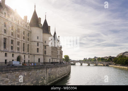 Paris Conciergerie - view of the Conciergerie building situated on the left bank of the Seine River. France, Europe. - Stock Photo