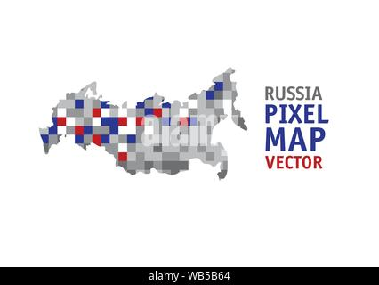 Russia pixel map isolate object on white. Color vector illustration EPS8 - Stock Photo