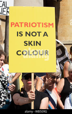 London, UK. 24th August 2019. A participant of the Free Tommy Robinson protest on the steps of All Souls Church, Langham Place. Credit: Joe Kuis / Alamy News - Stock Photo