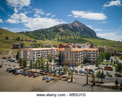 Summer view of the Grand Lodge and Crested Butte Mountain in Mt Crested Butte, Colorado. - Stock Photo