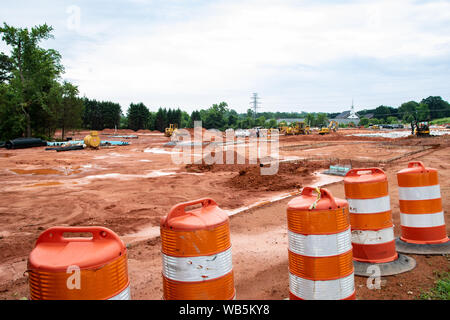 HICKORY, NC, USA-21 MAY 2019: Work begins on new apartment project. - Stock Photo