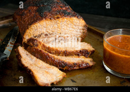 Barbecued Beef Brisket with Sauce - Stock Photo