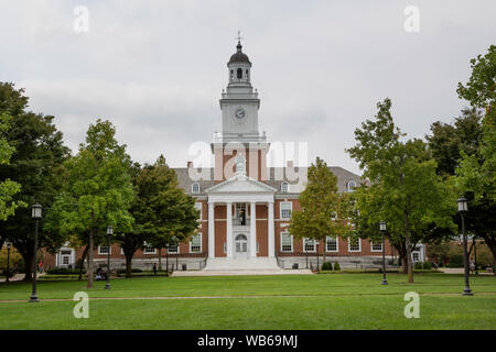 Exterior of Gilman Hall, on the Johns Hopkins University campus in Baltimore, Maryland - Stock Photo