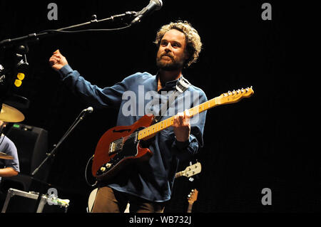 Rio de Janeiro, Brazil, August 18, 2009. Singer and guitarist Rodrigo Arante of the band Los Hermanos during a show at the HSBC Arena in the city of R - Stock Photo
