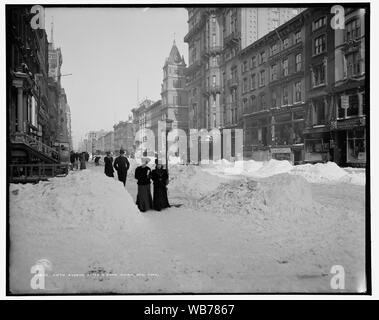 Fifth Avenue after a snow storm, New York; Fifth Avenue after a snow storm, New York - Stock Photo