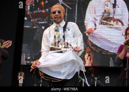 Rio de Janeiro, Brazil, October 2, 2011. Singer and composer Tom Zé, during a show at Rock in Rio in the city of Rio de Janeiro. - Stock Photo