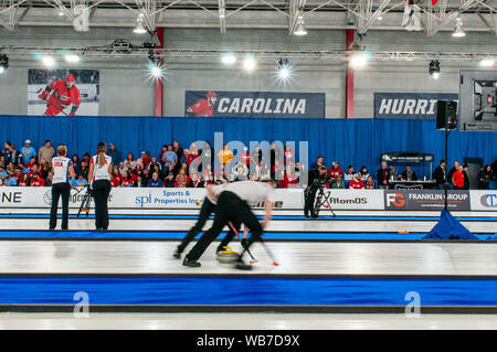 "Raleigh, North Carolina, USA. 24th Aug, 2019. Aug. 24, 2019 ''"" RALEIGH, N.C., US - ''¦ in action during Curling Night in America at the Raleigh Ice Plex. Curling Night in America featured members of the U.S. Olympic men's gold medal team from the 2018 Winter Olympics in South Korea, the U.S. women's team, as well as teams from Italy, Japan, and Scotland, Aug. 22-24, 2019. Credit: Timothy L. Hale/ZUMA Wire/Alamy Live News - Stock Photo"