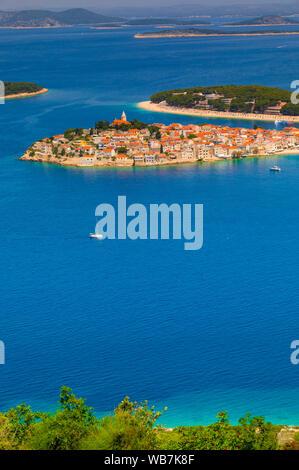 An Elevated View of Primosten, Croatia, Dalmatian Coast, Europe - Stock Photo