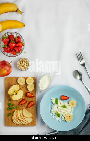 fruits berries, wooden tray, weight loss, vegetables, foods, yogurt, milk, bowl - Stock Photo