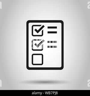 Checklist document sign icon in flat style. Survey vector illustration on isolated background. Check mark banner business concept. - Stock Photo