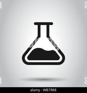 Chemistry beakers sign icon in flat style. Flask test tube vector illustration on isolated background. Alchemy business concept. - Stock Photo
