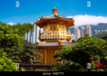 Pavilion of Absolute Perfection in Nan Lian Garden, Chinese Classical Garden. Diamond Hill, Kowloon, Hong Kong, China. - Stock Photo