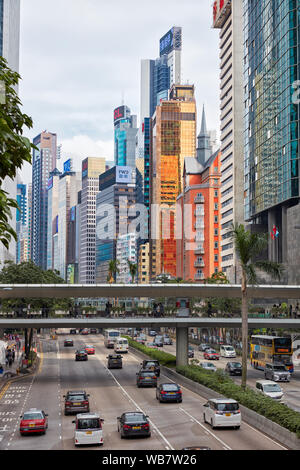 Modern high-rise buildings on Gloucester Road. Wan Chai, Hong Kong - Stock Photo