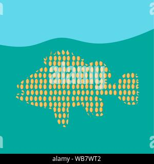Stylized image of fish swimming in the sea. Colorful illustration. Vector EPS10 - Stock Photo